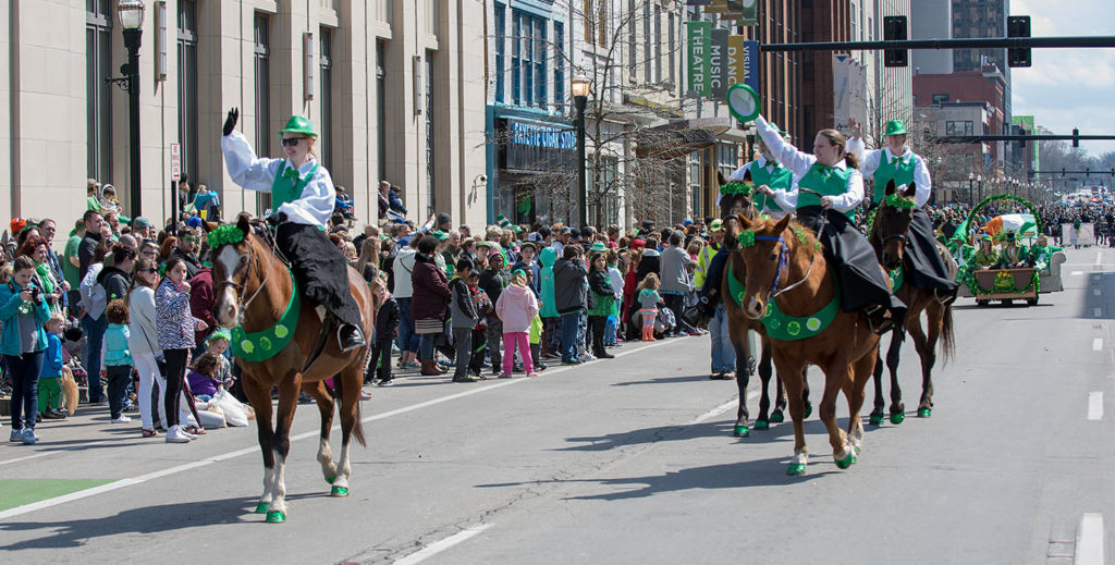 Horses in the 2018 Lexington St. Patrick's Parade