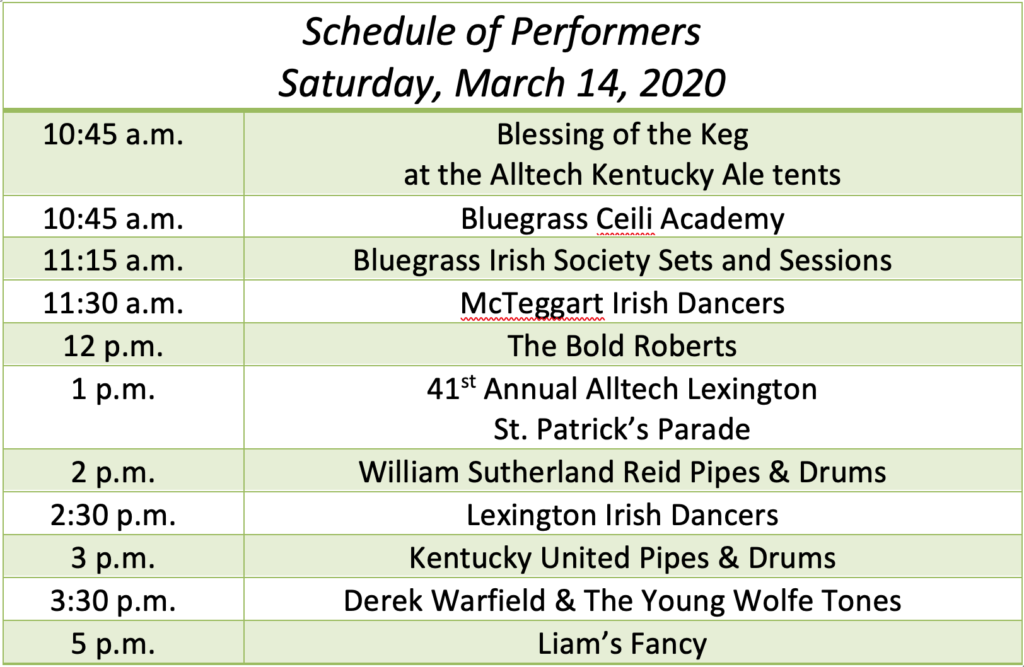 Schedule of performers